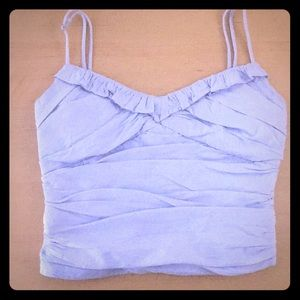 Zara cotton ruffled blue crop